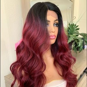 RED BURGUNDY OMBRÉ WAVY SWISS LACE PARTED WIG
